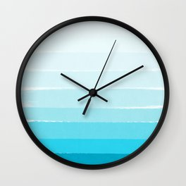 Isla - Ombre Brushstroke - Blue Turquoise, Bright, Summer, Tropical, Beach Ocean Wall Clock