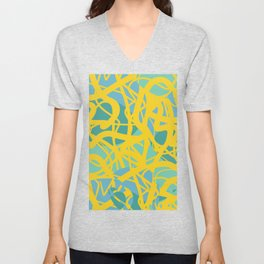 Yellow Green Acqua Abstract Organic Pattern Desig Unisex V-Neck