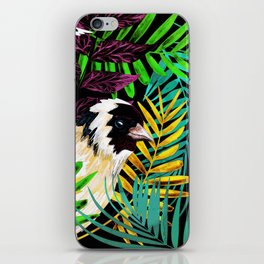 Tropical birds and green leaves iPhone Skin