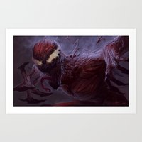 carnage Art Prints featuring Carnage by MATT DEMINO