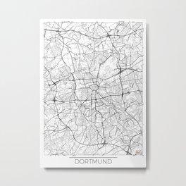 Dortmund Map White Metal Print