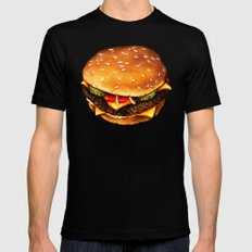 Cheeseburger Pattern 2 X-LARGE Mens Fitted Tee Black