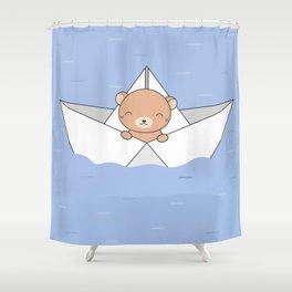 Kawaii Cute Brown Bear On A Boat Shower Curtain