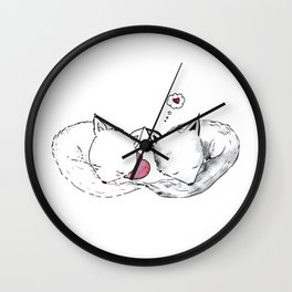 Foxes in Love Doodle Art Wall Clock