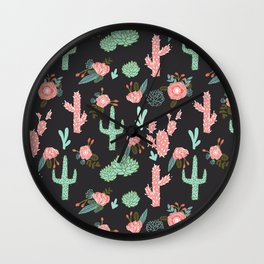 Cactus florals dark charcoal colorful trendy desert southwest house plants cacti succulents pattern Wall Clock