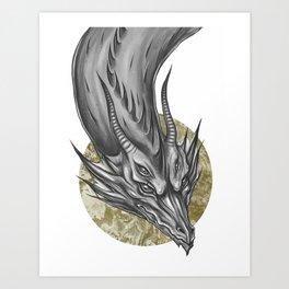 Silver Dragon Art Print