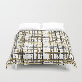 Black and Gold Loose Plaid Duvet Cover