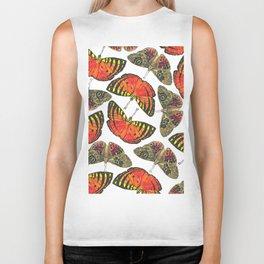 Butterfly Pattern Brown Red Orange Biker Tank