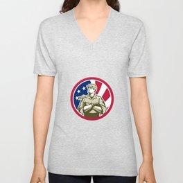 American Carpenter USA Flag Icon Unisex V-Neck