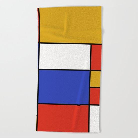 Abstract #401 Mondriaan #8 Beach Towel