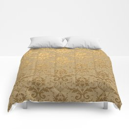Gold Metallic Damask Beige Comforters