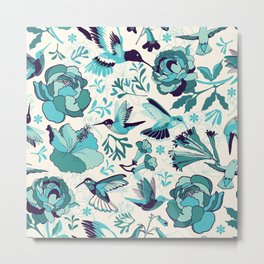 Hummingbird summerdance, Blue Metal Print