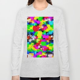 psychedelic geometric square abstract pattern in pink green yellow blue red Long Sleeve T-shirt