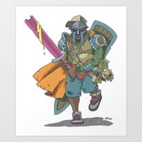 dungeons and dragons Art Prints featuring Dungeons & Dragons & DOOM by Floating Disc