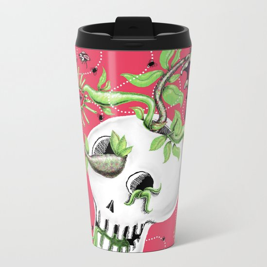 Skull Cachepot with Carnivorous Plants Metal Travel Mug