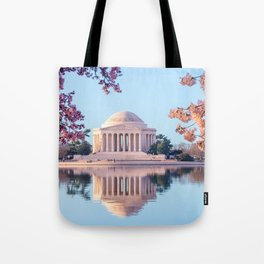 Cherry Blossoms at Jefferson Memorial in Washington DC Tote Bag