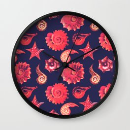 Collection of Sea Shells and Stars Wall Clock