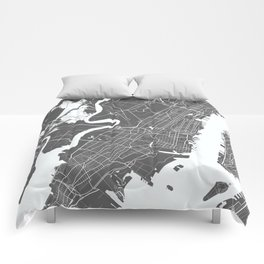 Jersey City USA Modern Map Art Print Comforters