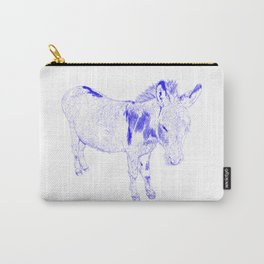 mini donkey drawing, blue Carry-All Pouch