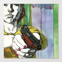 Girl with a Gun Canvas Print
