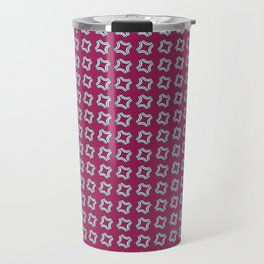CHICLET bright wine red with small white repeating pattern Travel Mug