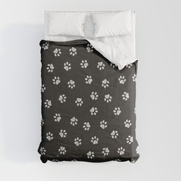Doodle white paw print seamless fabric design pattern with black background Comforters