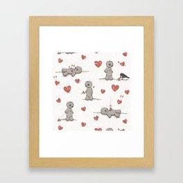 Broken hearted Voodoo Dolls Framed Art Print