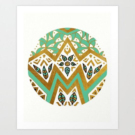 Golden Nature Mandala Art Print