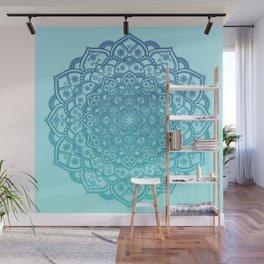 Mandala Seafoam Blue Aqua Ombre Bohemian Embellishments Wall Mural