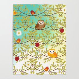 Autumn birds Poster