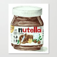 nutella Canvas Prints featuring Nutella by Owl Feather Studio