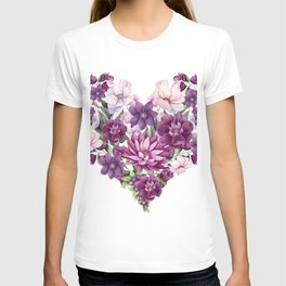 Floral Heart of Watercolor Pink and Maroon Flowers, Berries and Leave T-shirt
