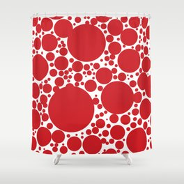 Red Polka Dot Pattern Shower Curtain
