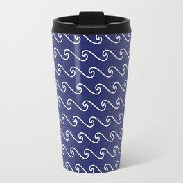 Wave Pattern | Navy Blue and White Travel Mug