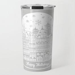 Linocut White Holidays Travel Mug
