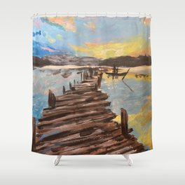 The Dock at Sunset Shower Curtain