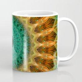 Mandala with green, brown and golden ornaments Coffee Mug