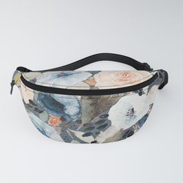 Loose Watercolor Bouquet on Blue Fanny Pack