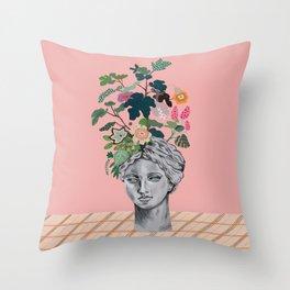 Greek Statue Head Vase Throw Pillow