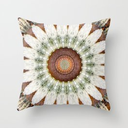 Textured Daisy Mandala Brown Throw Pillow