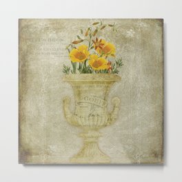California Poppy Collage Metal Print