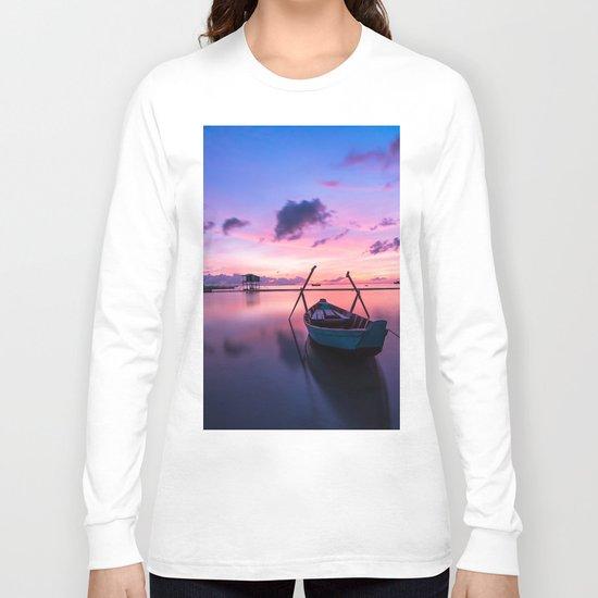 Boat and Sunrise Long Sleeve T-shirt