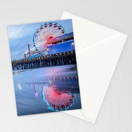 Santa Monica Pier Sunset Califorina Los Angeles Beach Landscape Stationery Cards