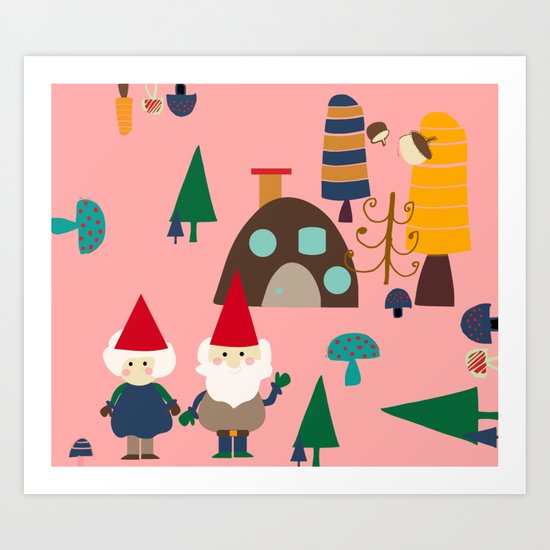 gnome pink Art Print