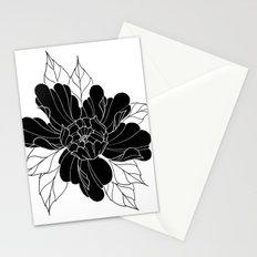 Black Peony Flower Stationery Cards