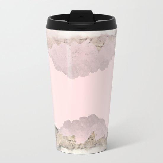 Pale Pink on Mountains Metal Travel Mug