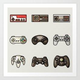 Retro Game Controllers Grey Art Print