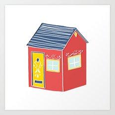Little Red Scandinavian House Art Print