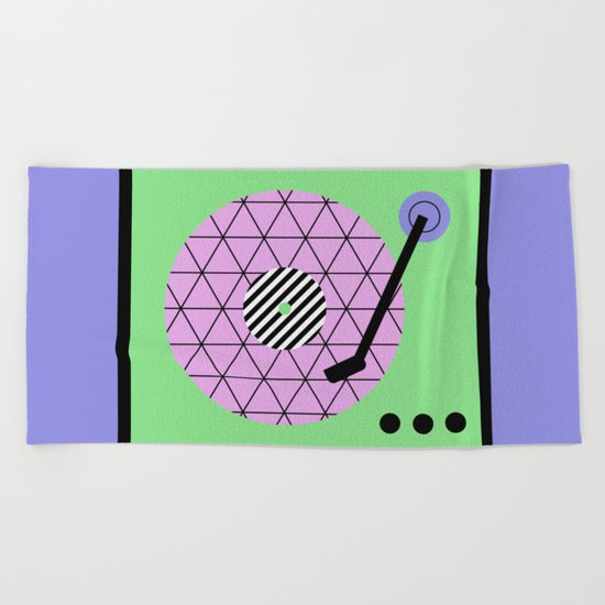 Play That Retro Geometric Vinyl Beach Towel