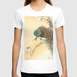 Peacock On A Cherry Tree - Vintage Japanese Woodblock Print T-shirt